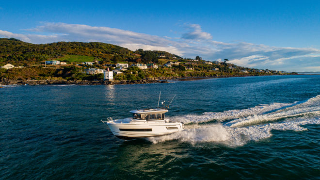 The Jeanneau Merry Fisher 895 Marlin on the run in Stewart Island
