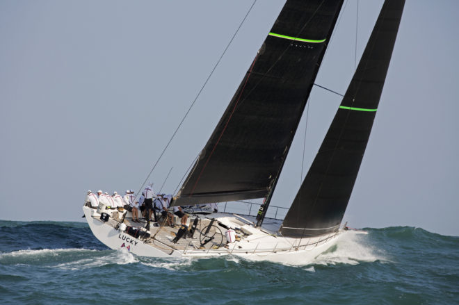 American Maxi 72 Lucky won the monohull line honours in 41hrs 30mins 10secs