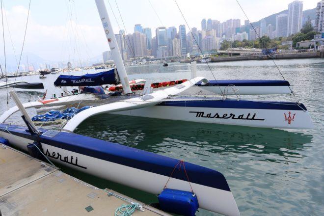 Skippered by Italian Giovanni Soldini, Maserati Multi70 is already at Royal Hong Kong Yacht Club