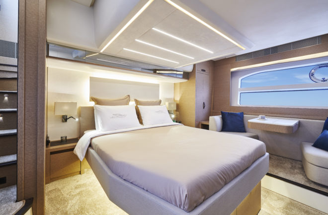 The beautiful owner's suite has its own private stairway aft and offers an excellent full-beam, midships layout, with large windows either side