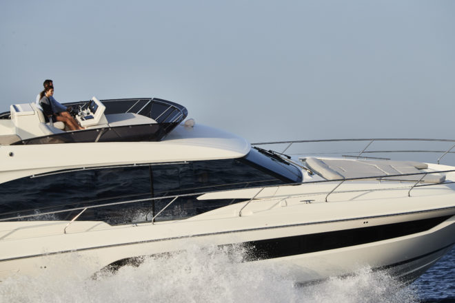 The infused GRP hull was redesigned to optimise the performance of the Cummins/ Zeus 600hp motors