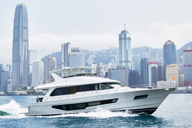 The third CLB72 by CL Yachts runs through Hong Kong harbour