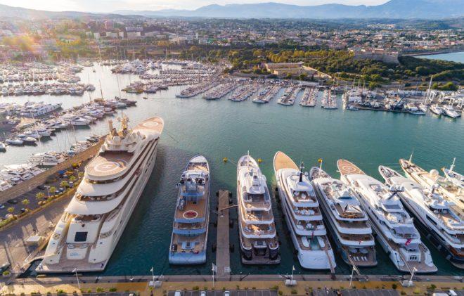 With superyacht infrastructure designed by Poralu Marine, France's Port Vauban, Quai des Milliardaires is a popular mooring for superyachts in the Mediterranean; (C) Josip Baresic