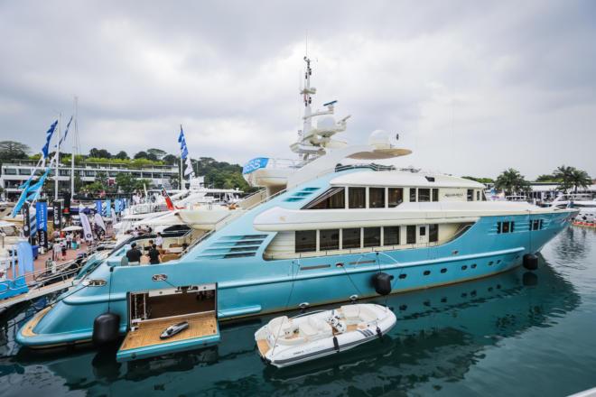 The 47m Aquamarina at the Singapore Yacht Show at ONE ̊15 Marina, Sentosa Cove