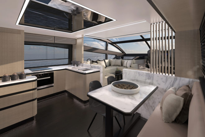 """Kelly Hoppen continued her work for Pearl on the 62, designing a """"chic, cutting-edge yacht interior"""""""