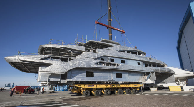 The superstructure of Benetti FB274 prior to the joining operation