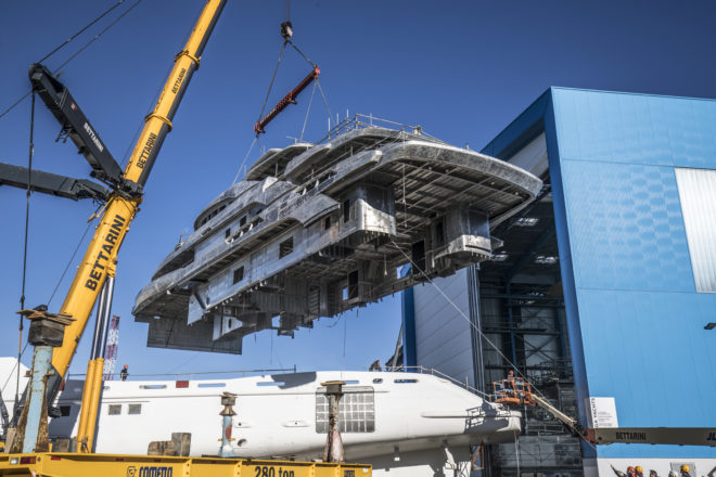The joining of the 65m hull and superstructure of Benetti FB274