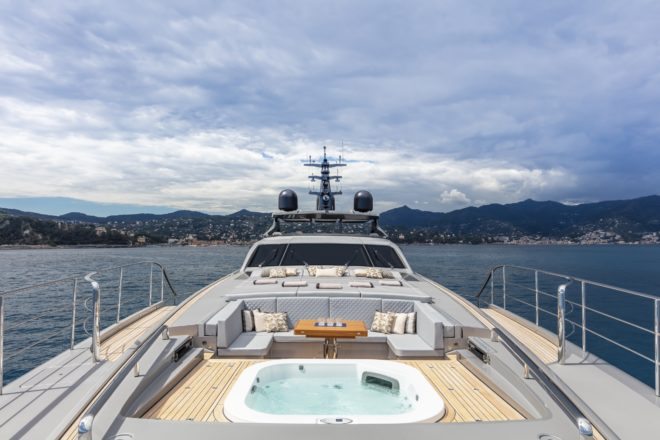 Pershing 140: Transformer action starts on the foredeck, where a huge panel slides back to reveal a lounge area and jacuzzi