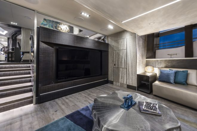Pershing 140: The entertainment room in Chorusline is situated in the same space as the master cabin's en-suite in hull two