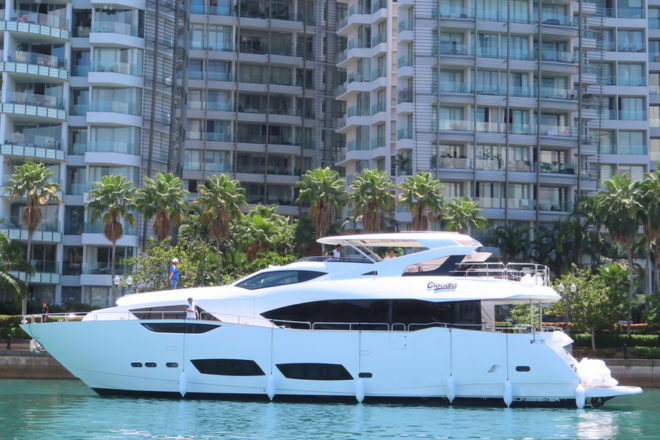 The 95 Yacht Cloudia is the largest Sunseeker to 'live' in Singapore
