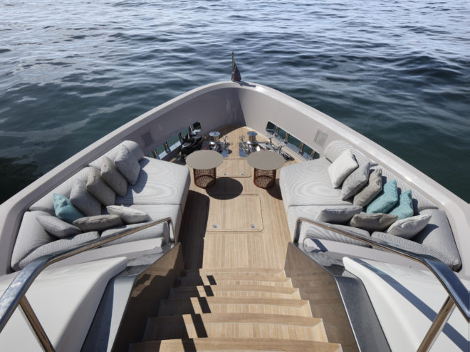 The stairs from the upper deck to the foredeck, which Urquiola changed from a working area to a snug guest zone