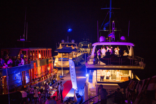 Yacht Sourcing hosted the Thailand Charter Week's biggest party across its three boats including Maha Bhetra (left) and the Azimut 80 Mirage