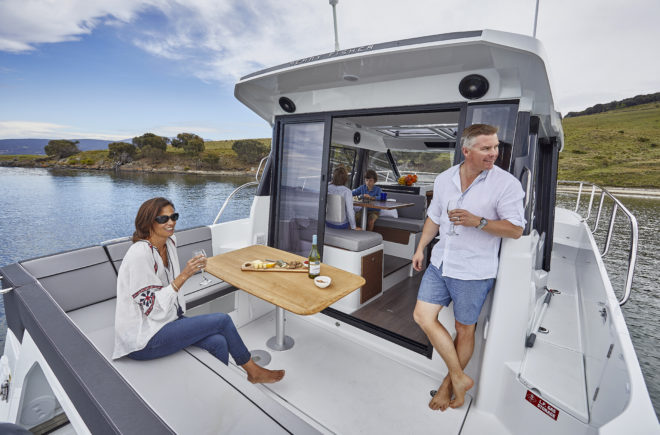 Jeanneau: The Merry Fisher 1095 can have a separated aft area when the saloon doors are closed
