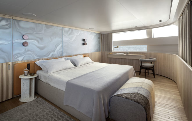 The owner's cabin is forward on the main deck