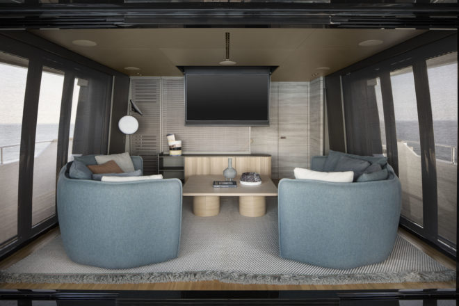 A drop-down television can turn the skylounge into a cinema