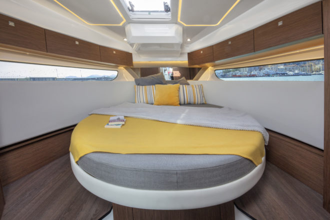 Jeanneau: The master cabin in the Merry Fisher 1095 is also in the bow