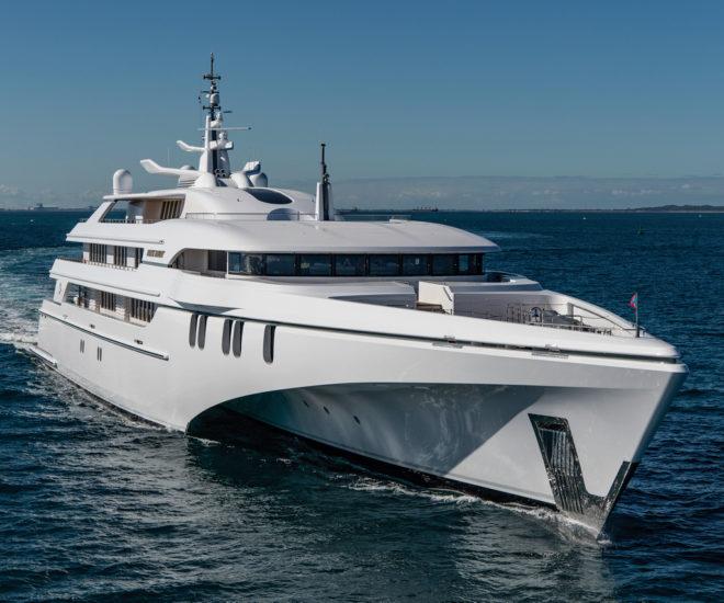 Singapore-owned White Rabbit, an 84m trimaran motor yacht