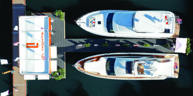 The CLA76 (top) and CLB72 were the stars of the eye-catching CL Yachts display at the 2018 Fort Lauderdale International Boat Show