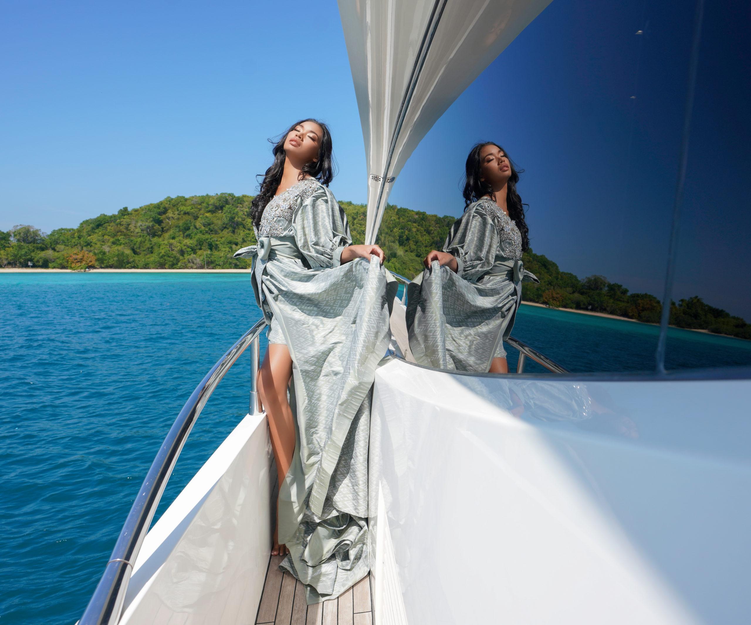 Sunseeker Manhattan 73 yacht, Ozlem Suer fashion, Gulf of Thailand, Models Borry Ra, Sunanta Yousagoon, Photography by Pimpun Jittreethieng