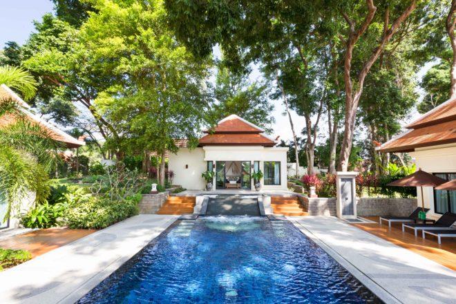 Pool side respite for residents to enjoy at Nai Harn Baan Bua Tree Villa