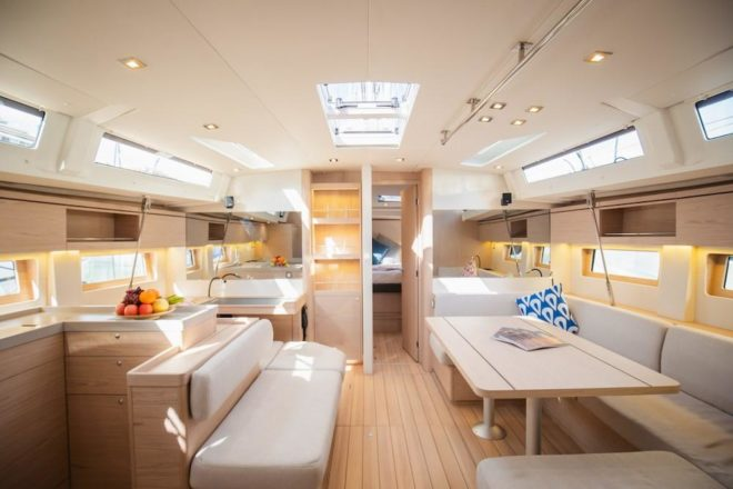 The interior of the high-spec Oceanis 51.1, which has a three-cabin layout