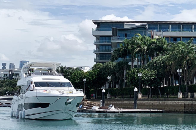 The fourth 76 Yacht sold by Sunseeker Singapore has arrived in the city