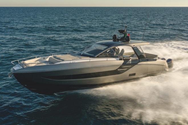 Azimut's Verve 47 has four 450hp Mercury Verado V8 four-stroke outboards