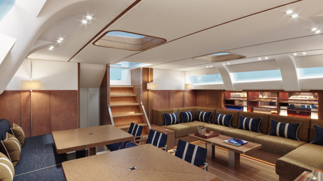 Swan 98 hull one features the Traditional Navy mood by Misa Poggi