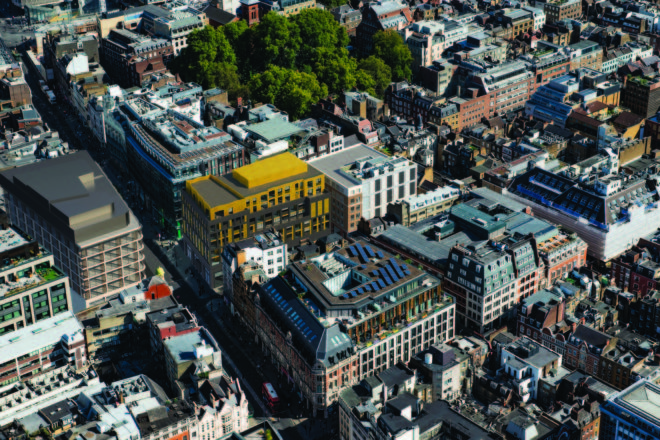 Aerial view of the city where Tottenham Court Road West is situated in
