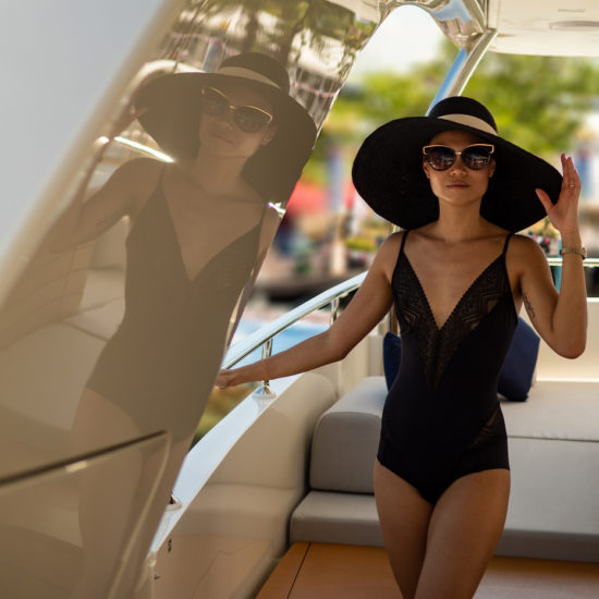 Sunhats and styling by Neimasitawi on a Sanlorenzo in Singapore
