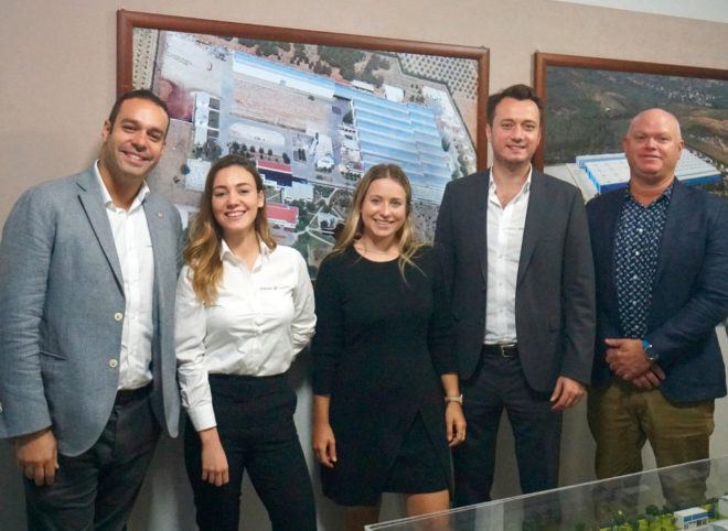 Sirena and E-Yachts staff including Ali Onger (far left), Ensar Cabuk (second right) and Peter Hrones (far right)