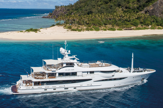 Amels 180 Driftwood cruising in Fiji; note the shading of the aft decks