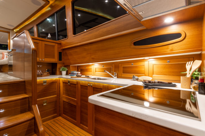 The galley on the Grand Banks 54 is located on the lower deck to port, beside the midships master suite