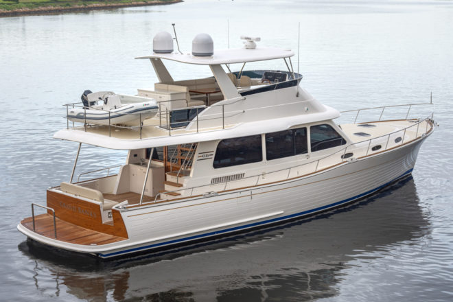 The flybridge on the Grand Banks 54 has a hardtop and a davit to deploy a rib stored aft