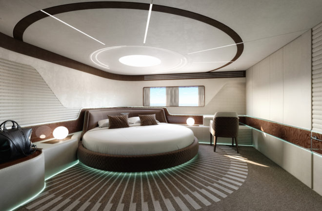 The owner's cabin has a circular bed from the Bentley Home collection