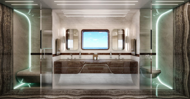 The owner's bathroom is finished in fine onyx and has a two-person hammam