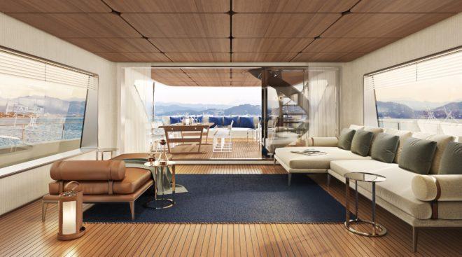 Antonio Citterio Patricia Viel designed the interior of the four-deck yacht