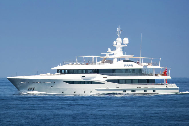 Delivered in the Med last year, Amels 180 Papa has lately been offered for charter from Singapore