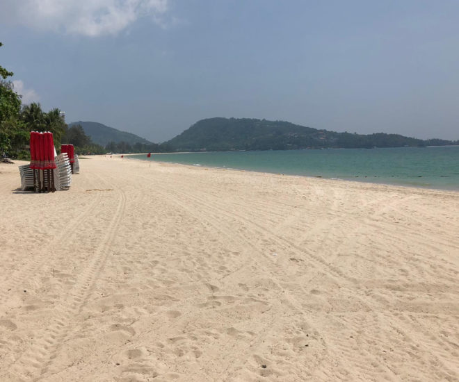 Patong Beach is deserted during the lockdown in Phuket, Thailand