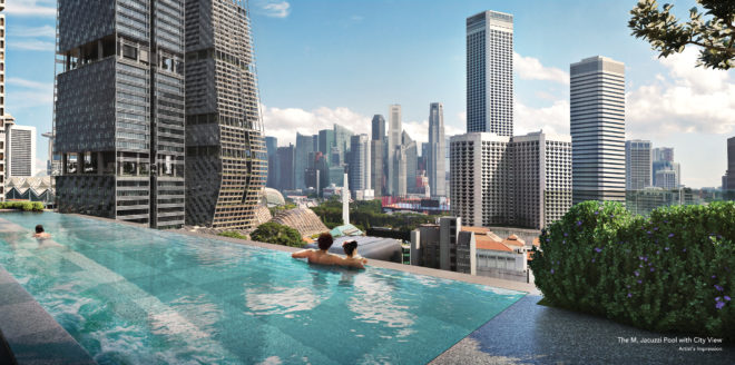 Pool deck at The M by Wing Tai