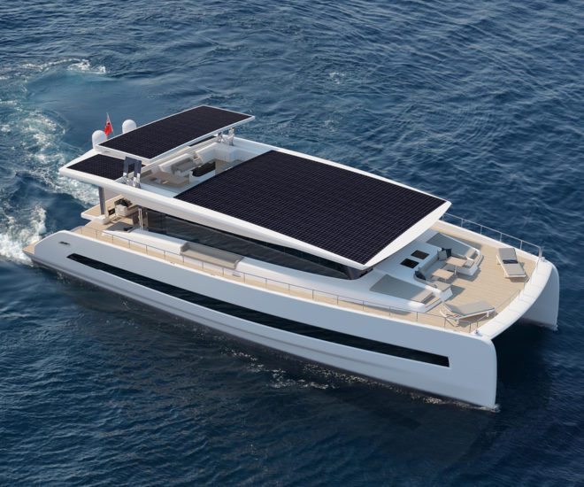 The 24.3m Silent 80 can travel about 100nm a day using solar power