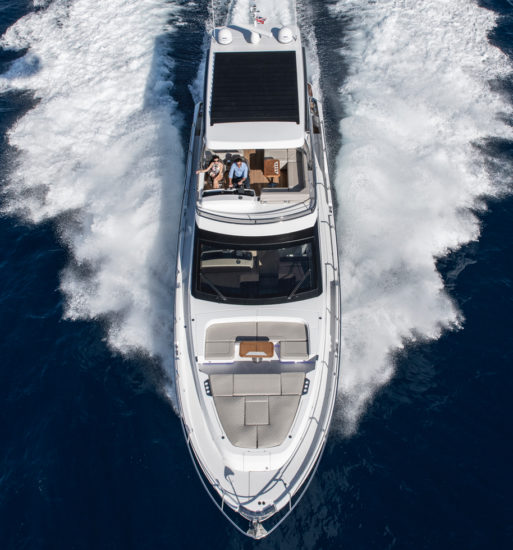The Fairline Squadron 68's foredeck features flexible furniture
