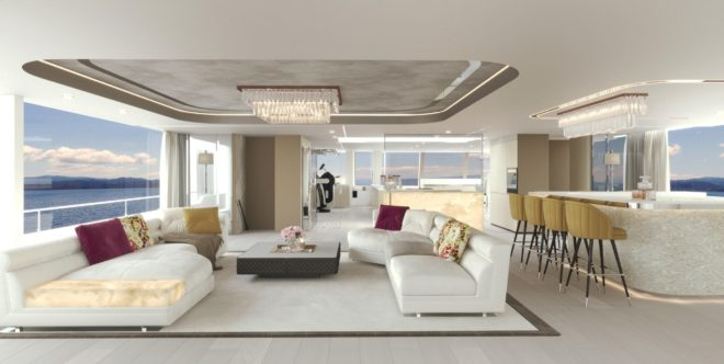 The bespoke saloon on the 100 Sunreef Power includes a fitness area forward and a dining area