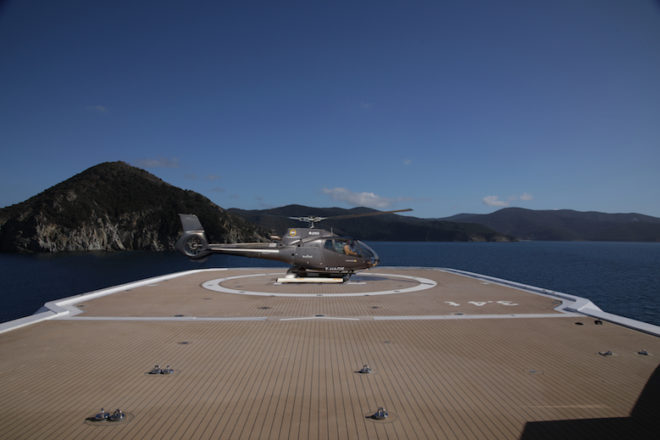 The forward helideck can take a Bell 429 helicopter
