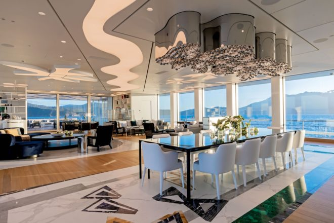 Luminosity offers vast interior spaces and accommodation for up to 22 guests