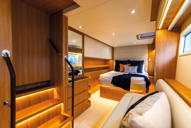 Master suite on the ILIAD 50 has all the comforts of home