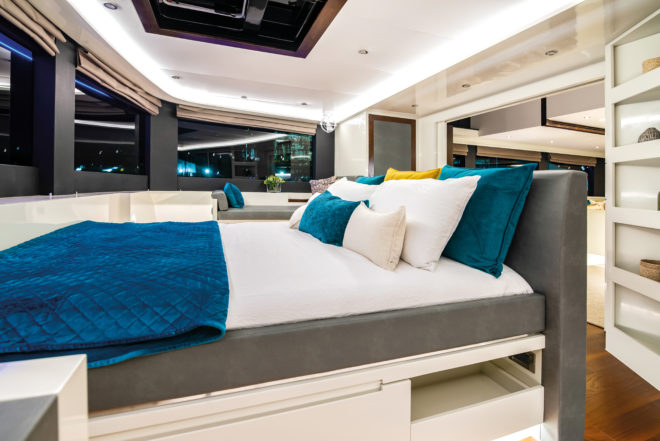 An exciting custom idea is having the ILIAD 70 master suite facing forward on the central deck