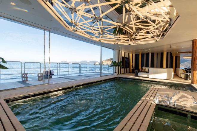 The bottom of the 30sqm swimming pool can be raised to form a dance floor