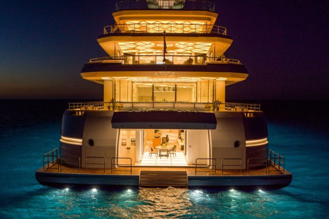 Luminosity is beautifully lit at night, across all six decks