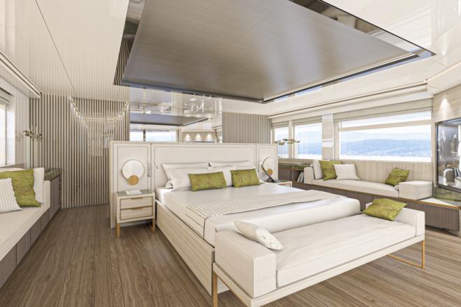 Numarine: The master suite (pictured) and saloon are Enrico Lumini's favourite zones